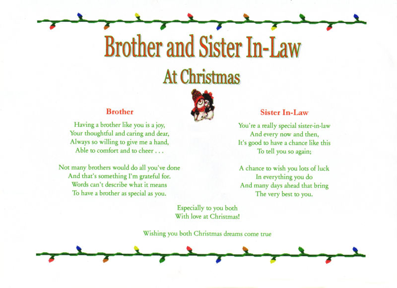Sister In Law Poems: Verse Reads Same As Verse For Sister And Brother In-Law