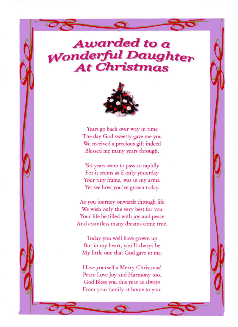 Daughter - Christmas Laminated Poem Gifts
